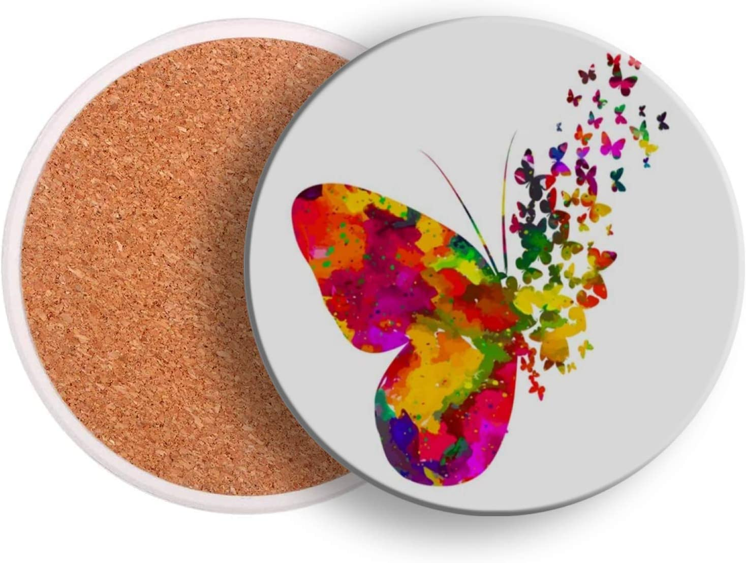 Coasters for Drinks Absorbent Abstract Rainbow Butterfly Colored Ceramic Coaster 1 Pieces Cork Backing Wood Cup Bar Beverage Pot Mat Pad Bulk for Wooden Coffee Table Women Men Kids Round