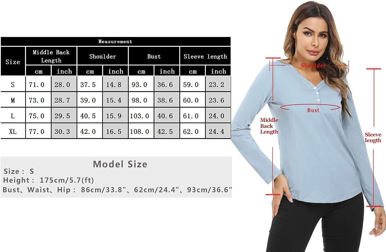 Hawiton Camisetas Lactancia Manga Larga Camiseta de Lactancia Ropa de Enfermer/ía Algodon Camisa de Maternidad Premam/á