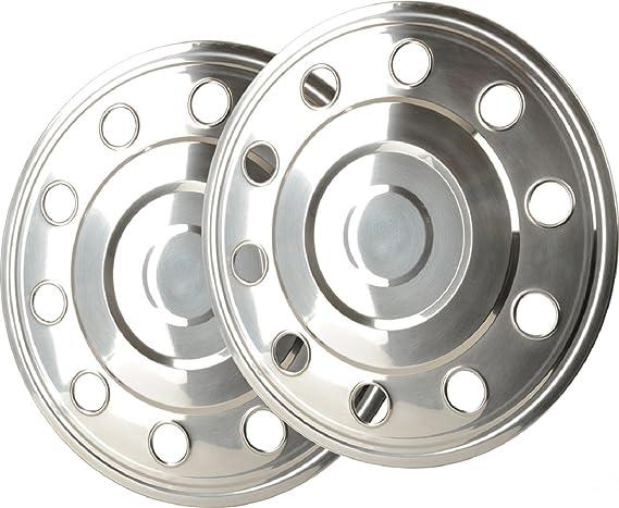 2 tapacubos de 15 pulgadas de acero inoxidable rectos para furgonetas y remolques.: Amazon.es: Coche y moto