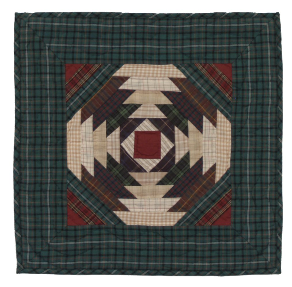 Pineapple Log Cabin Wall Hanging Quilt 18 Inches by 18 Inches 100% Cotton Handmade Hand Quilted Heirloom Quality