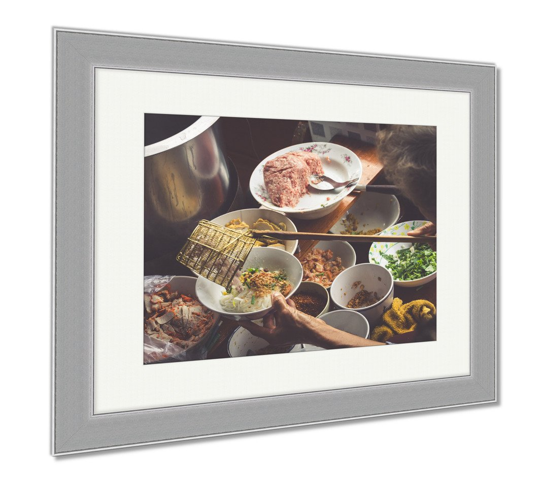 Ashley Framed Prints Thai Food Spicy Food At Damnoen Saduak Floating Market Near Bangkok Thailand, Wall Art Home Decoration, Color, 34x40 (frame size), Silver Frame, AG5874925