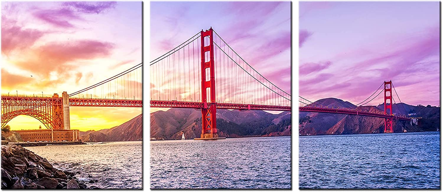 Artmyharbor 3 Piece Canvas Wall Art Golden Gate Bridge at Sunrise Landscape Picture Print San Francisco California Artwork Painting Modern Home Art Decor Stretched Ready to Hang