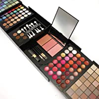 Niome 177 Colors Matte Shimmer Eyeshadow Lip Gloss Blush Contours Palette Set With Brushes Puff Mirror