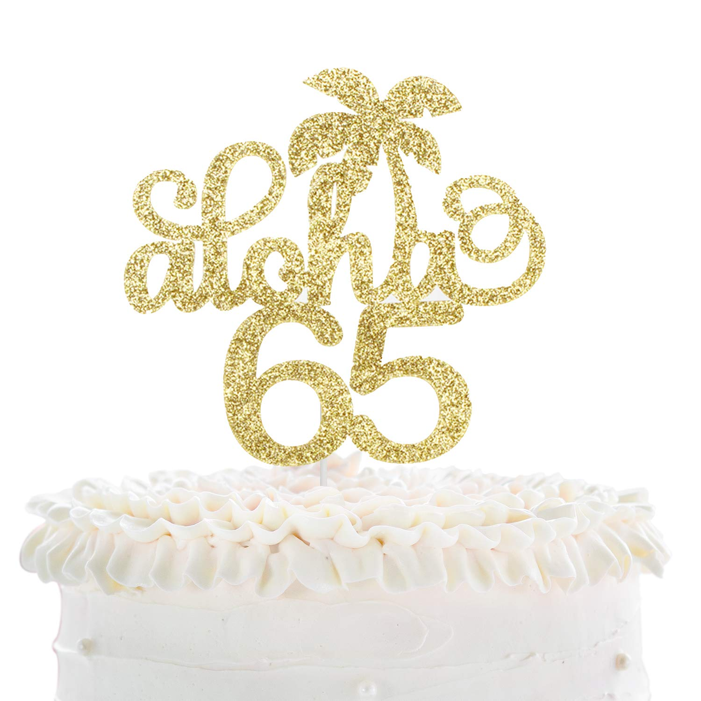 Enjoyable Aloha 65Th Birthday Cake Topper Gold Glitter Wedding Anniversary Personalised Birthday Cards Veneteletsinfo