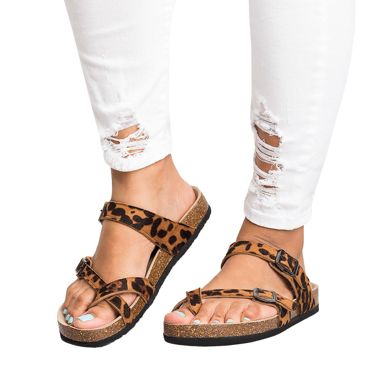 Damen Flat Thong Flip Flop Schuhe Sandalen Sommer Kunstleder Rutschen Hausschuhe  39 EU|Leopard