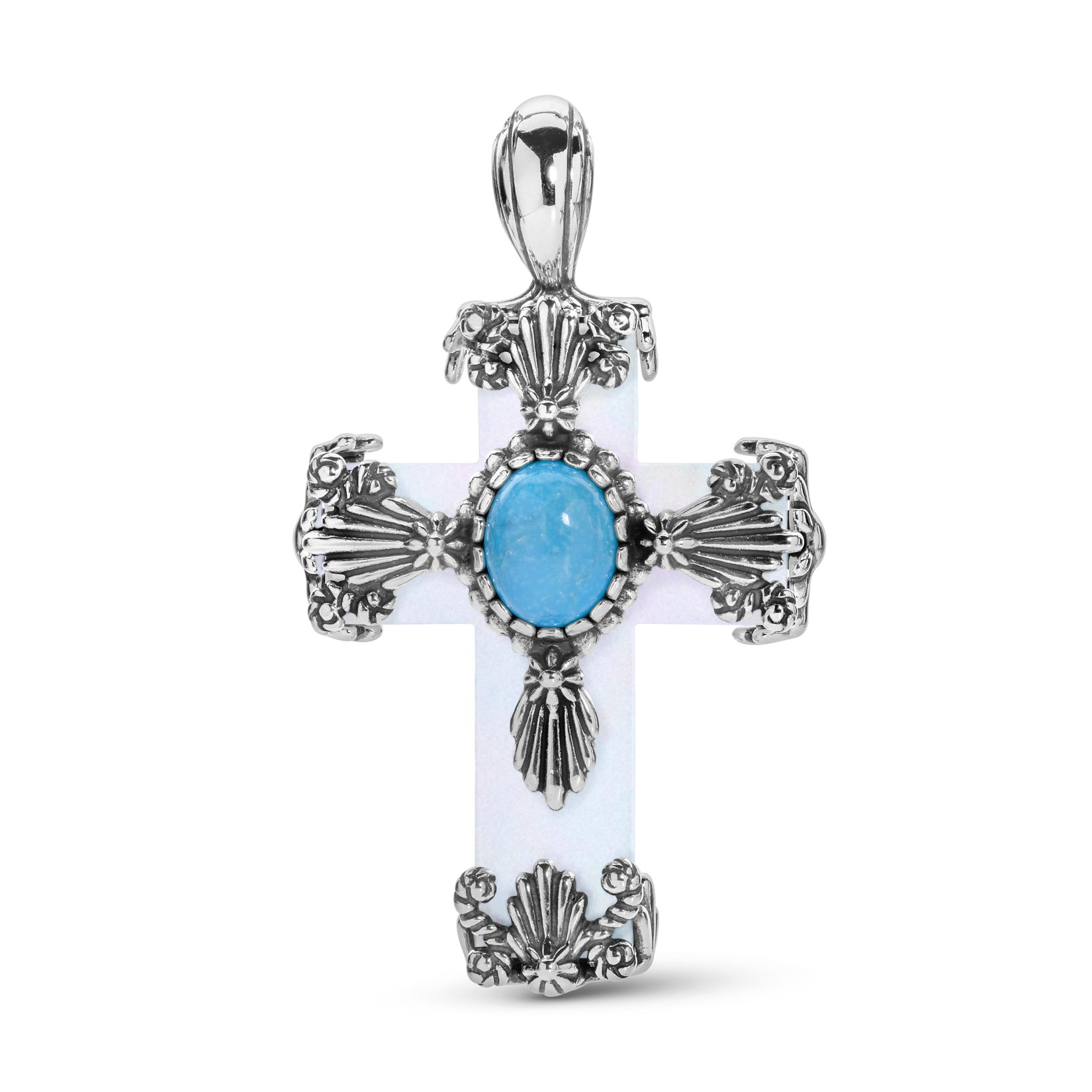 American West Sterling Silver, Mother of Pearl & Blue Turquoise Gemstone Floral Cross 2'' Necklace Enhancer Pendant by American West