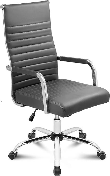 DiVolio Bürostuhl Majestic Schreibtischstuhl Drehstuhl Bequeme Rückenlehne Armlehnen Belastbarkeit bis 150kg (grau)