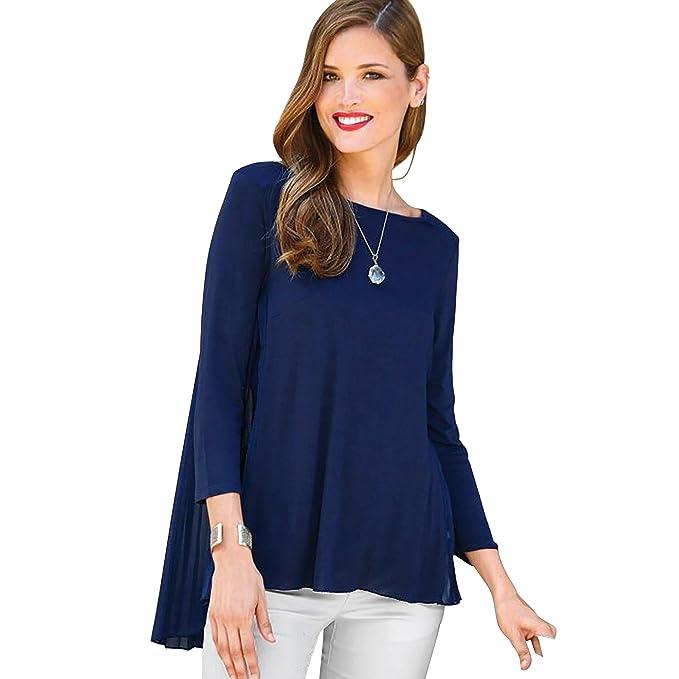 VENCA Camiseta Espalda Plisada en Tejido a Contraste Georgette Mujer by 112201: Amazon.es: Ropa y accesorios