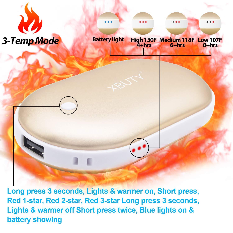 XBUTY Rechargeable Hand Warmers Electric Hand Warmer 5200mAh Powerbank Reusable Hiking Gear in Winter Portable USB Hand Warmer Heater Battery Pocket Warmer