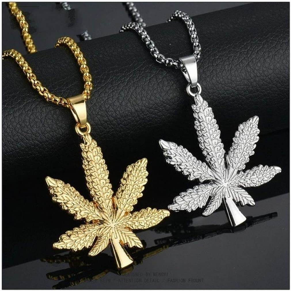 """18/"""" or 24/"""" Inch Chain Necklace /& Cannabis Pendant Marijuana Charm Pot Weed Dope"""