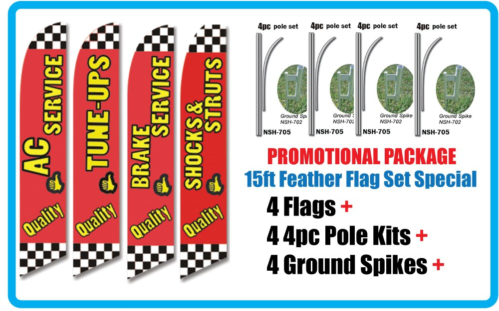 AUTO REPAIR SHOP Promotional Package of FOUR Feather Flag Sets - INCLUDES 15FT 4pc POLE KITS w/ Ground Spikes