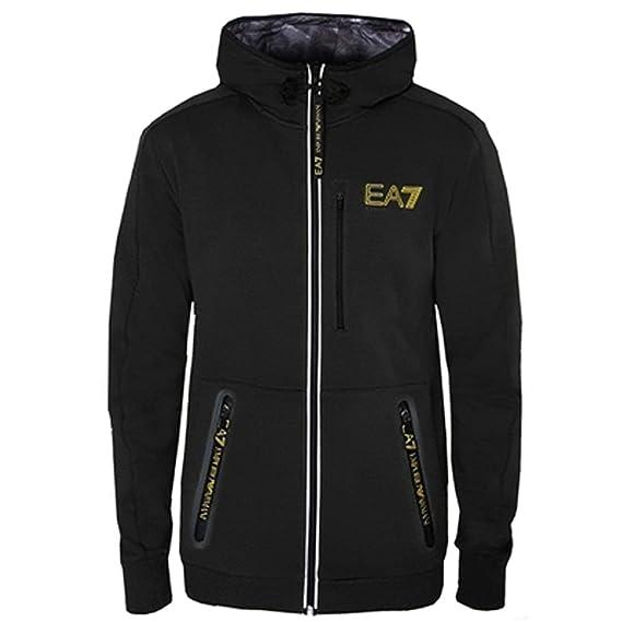 hot-selling authentic cozy fresh discount coupon Emporio Armani EA7 Black Zip Up Hoody Sweatshirt Jacket ...
