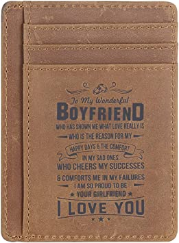 My Man My Love Wifes gift Genuine Leather Men Front Pocket Slim Card Wallet with RFID My Life