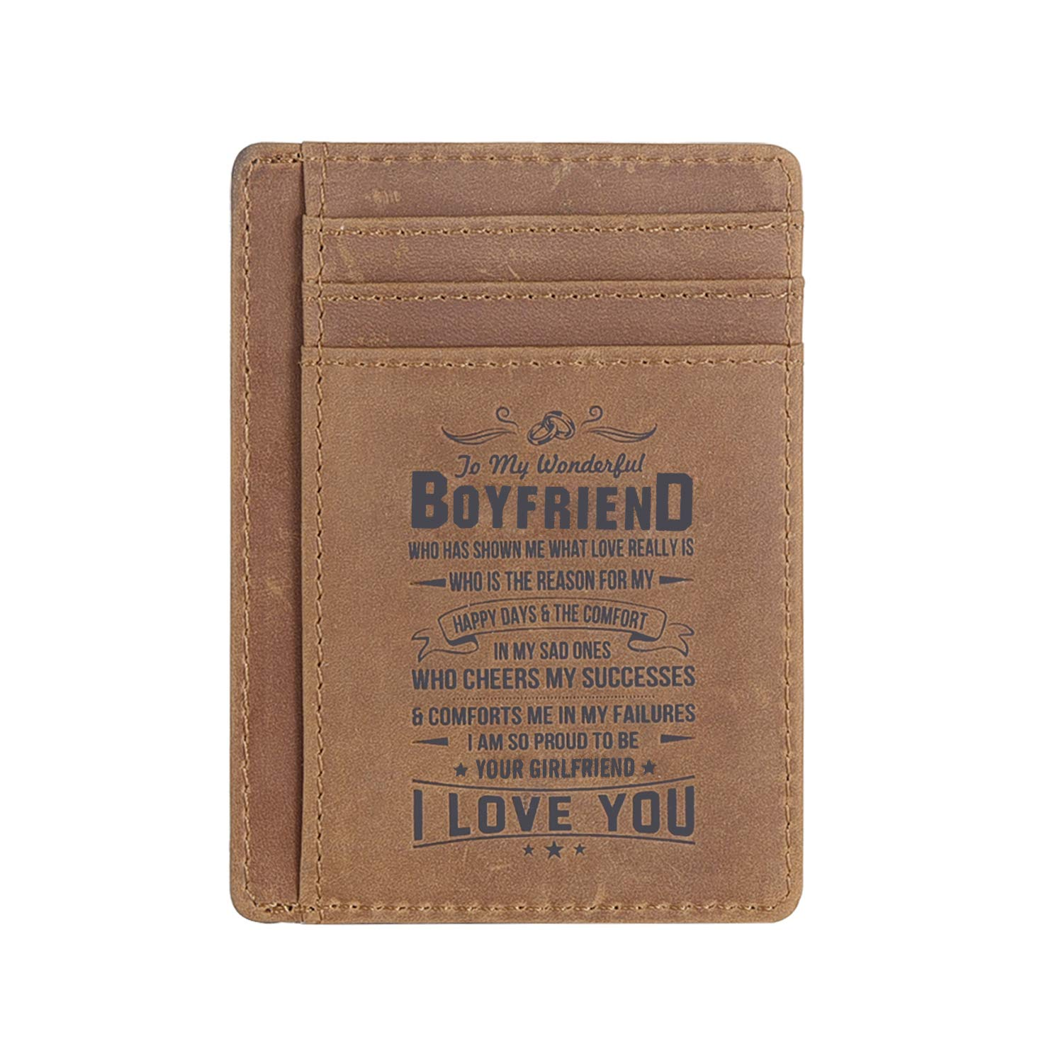 3bd7b3099ad9e Amazon.com  Leather Slim Wallet for Son Daughter