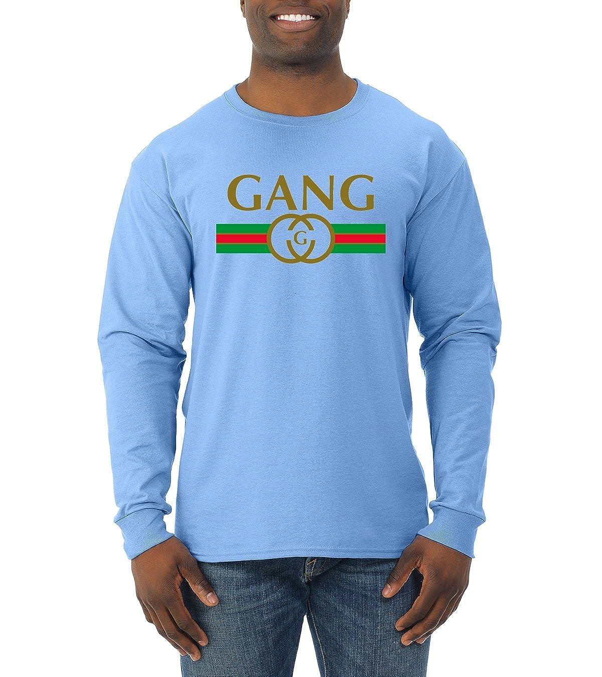 5707e052 Amazon.com: Wild Bobby Gang Logo Parody | Mens Fashion Long Sleeve T-Shirt:  Clothing