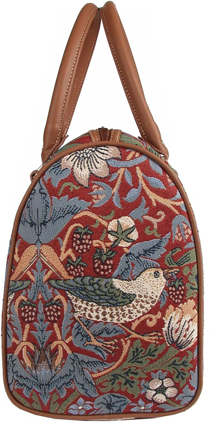 Designer William Morris Travel Bag by Signare with Flower and Bird by Signare
