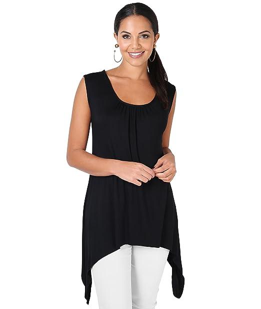 c15fd958610ddf KRISP® Women Jersey Tunic Tops Long Pleated Asymmetric Vest Top   Amazon.co.uk  Clothing