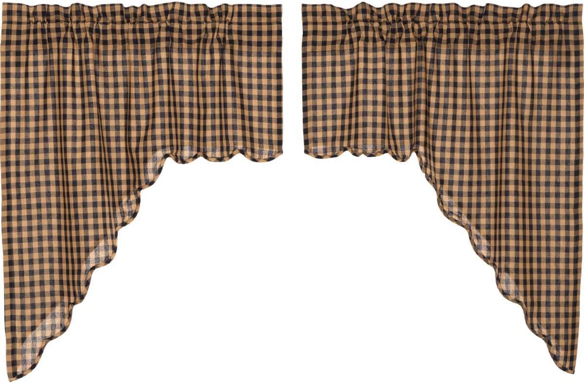 VHC Brands Classic Country Primitive Kitchen Window Curtains – Check Blue Scalloped Swag Pair, x King, Navy