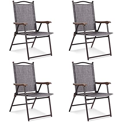 94f98f8cc18 Giantex Set of 4 Folding Sling Back Chairs Indoor Outdoor Reclining Camping  Chairs Garden Patio Pool Beach Yard Recliners Lounge Chairs w/Armrest ...