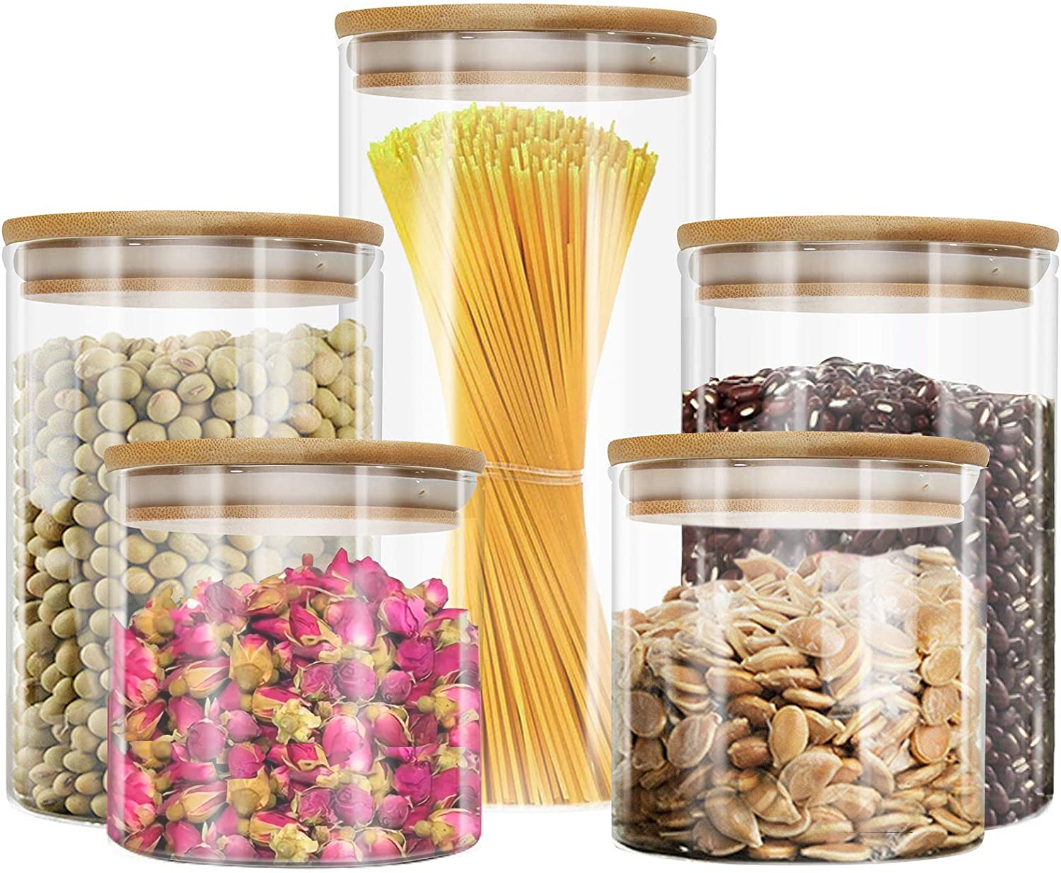 Liuruiyu Glass Food Storage Jars Set of 5,Glass Storage Containers Clear Glass Food Canister with Bamboo Lid Airtight For Serving Tea, Coffee, Flour, Sugar, Candy, Cookie, Spice and More