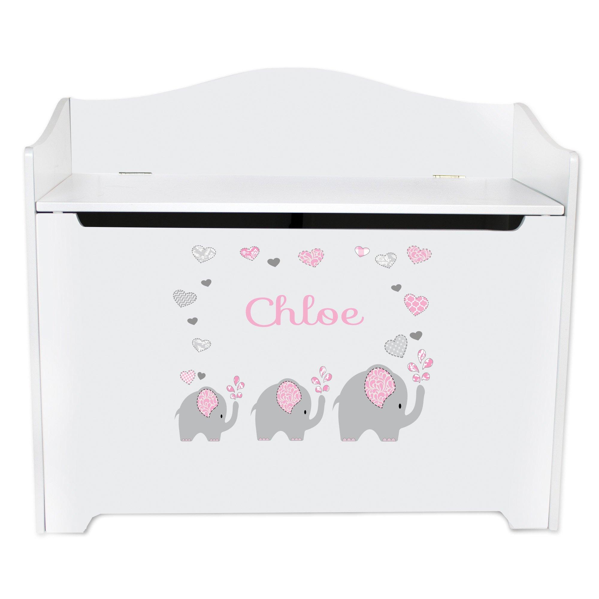Personalized Pink Elephant Toy Box Bench Custom