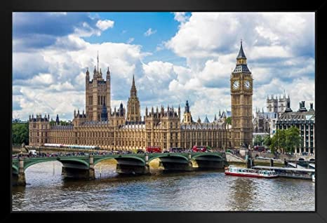 London Big Ben Parliament painting Reproduction Print On Framed Canvas Wall Art