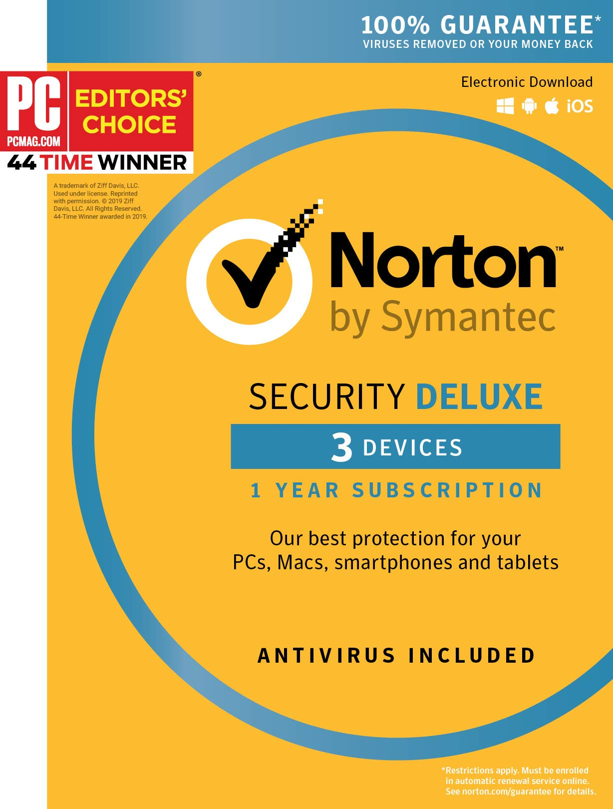 Symantec Norton Security Deluxe - 3 Devices - 1 Year Subscription [PC/Mac/Mobile Key Card] by Symantec
