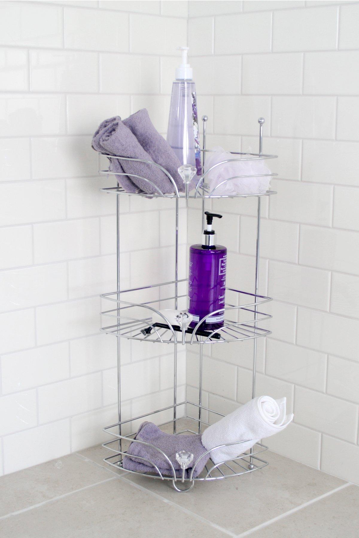 Splash Home 09EXATW/3SCHRSPL Exa Corner Shower Caddy, 25.7 x 9 x 12, Chrome