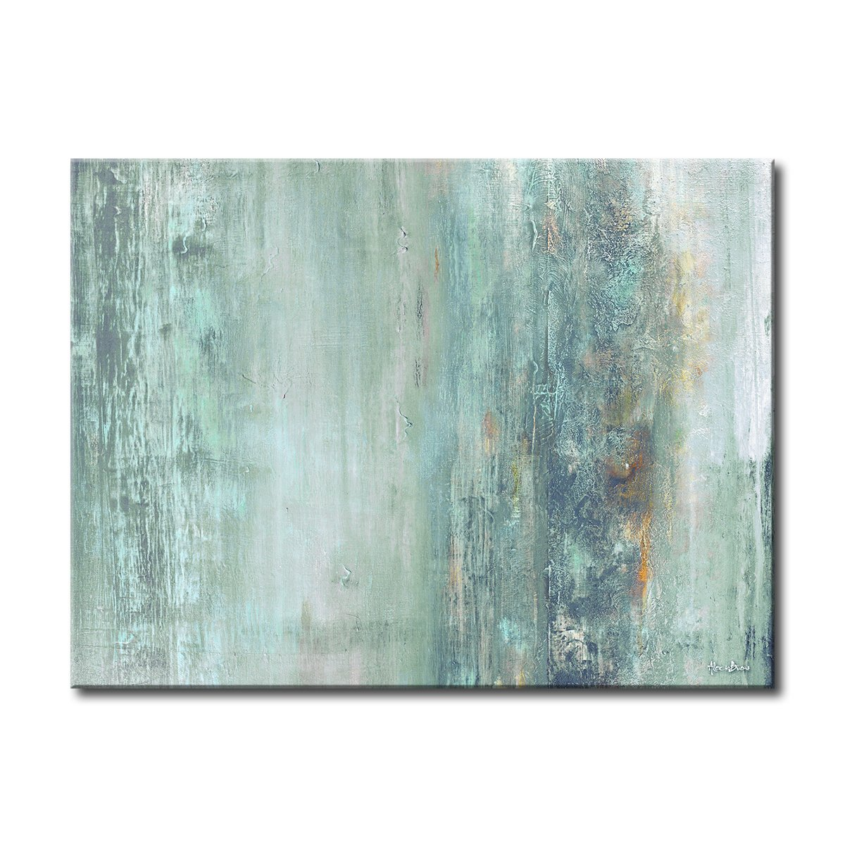 Ready2HangArt 'Abstract Spa' Gallery Wrapped Canvas, 30'' High x 40'' Wide x 1'' to 2'' Deep, Blue/Teal