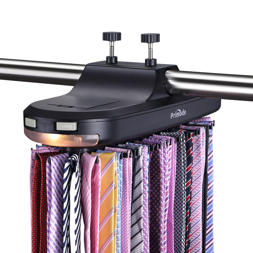 Primode Motorized Tie Rack with LED Lights - Closet Organizer, Stores & Displays Up to 64 Ties Or Belts, Rotation operates with Batteries. Great Gift Idea (Black)