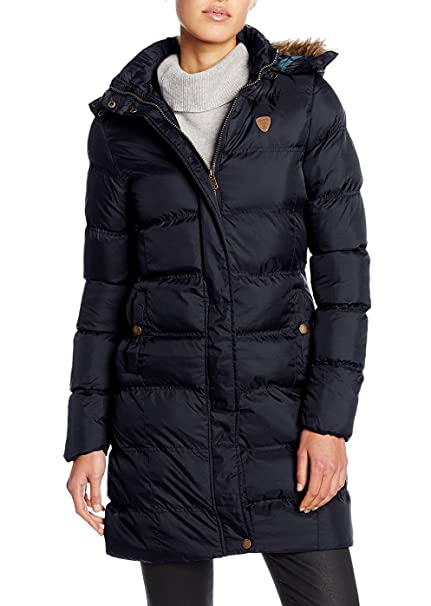 SheLikes – Abrigo acolchado con capucha con forro de pelo, con cremallera azul azul marino 36: Amazon.es: Ropa y accesorios