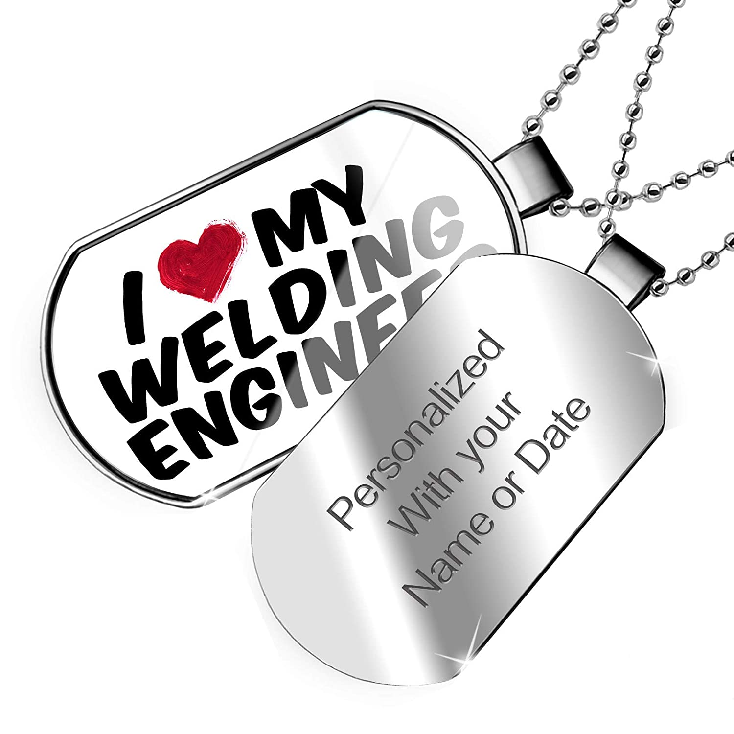 NEONBLOND Personalized Name Engraved I Heart Love My Welding Engineer Dogtag Necklace