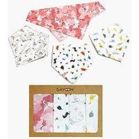 4 Pack DAYOOH Cotton Bandana Baby Bibs for Girls