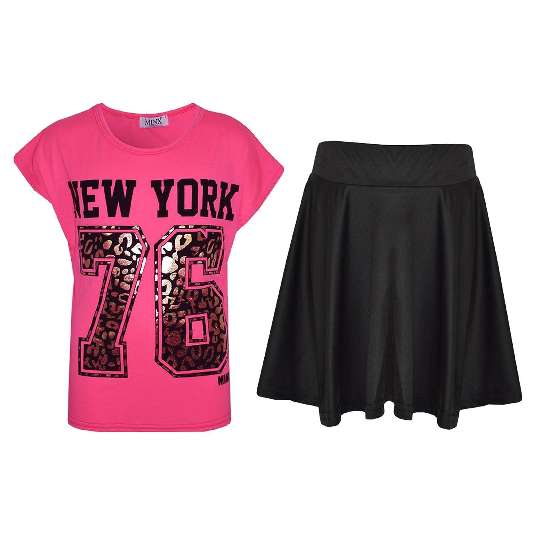 A2Z 4 Kids® Kinder Mädchen Comic Graffiti Scribble Leopard #SELFIE #No Filter #Love NYC Paris Neu York 76 Epic OMG Aufdruck ed Mode Crop Top & Stilvoll Schwarz Skater Rock Satz 7-13 Jahre