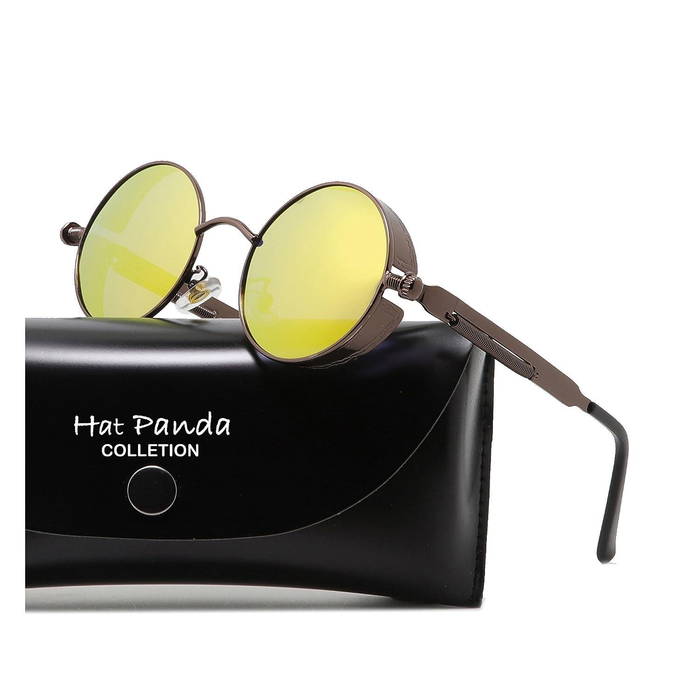 HatPanda Steampunk estilo retro inspirado círculo metálico redondo gafas de sol polarizadas para hombres