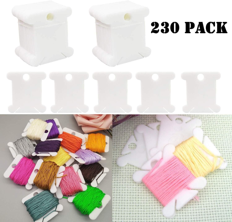 Craft DIY Sewing Storage Embroidery Floss Organizer 230 Piece Plastic Floss Bobbins Cross-Stitch Thread Bobbins Card Thread Holder with Floss Winder
