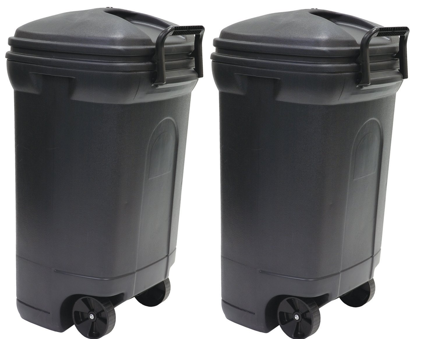 United Solutions TB0010 Rough and Rugged Rectangular 34 Gallon Wheeled Black Outdoor Trash Can with Hook&Lock Handle-Thirty Four Gallon Garbage Can with Locking Handles (2 Pack) by United Solutions