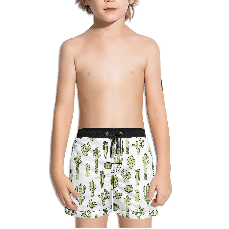 FullBo Cactus Pattern Succulents Little Boys Short Swim Trunks Quick Dry Beach Shorts