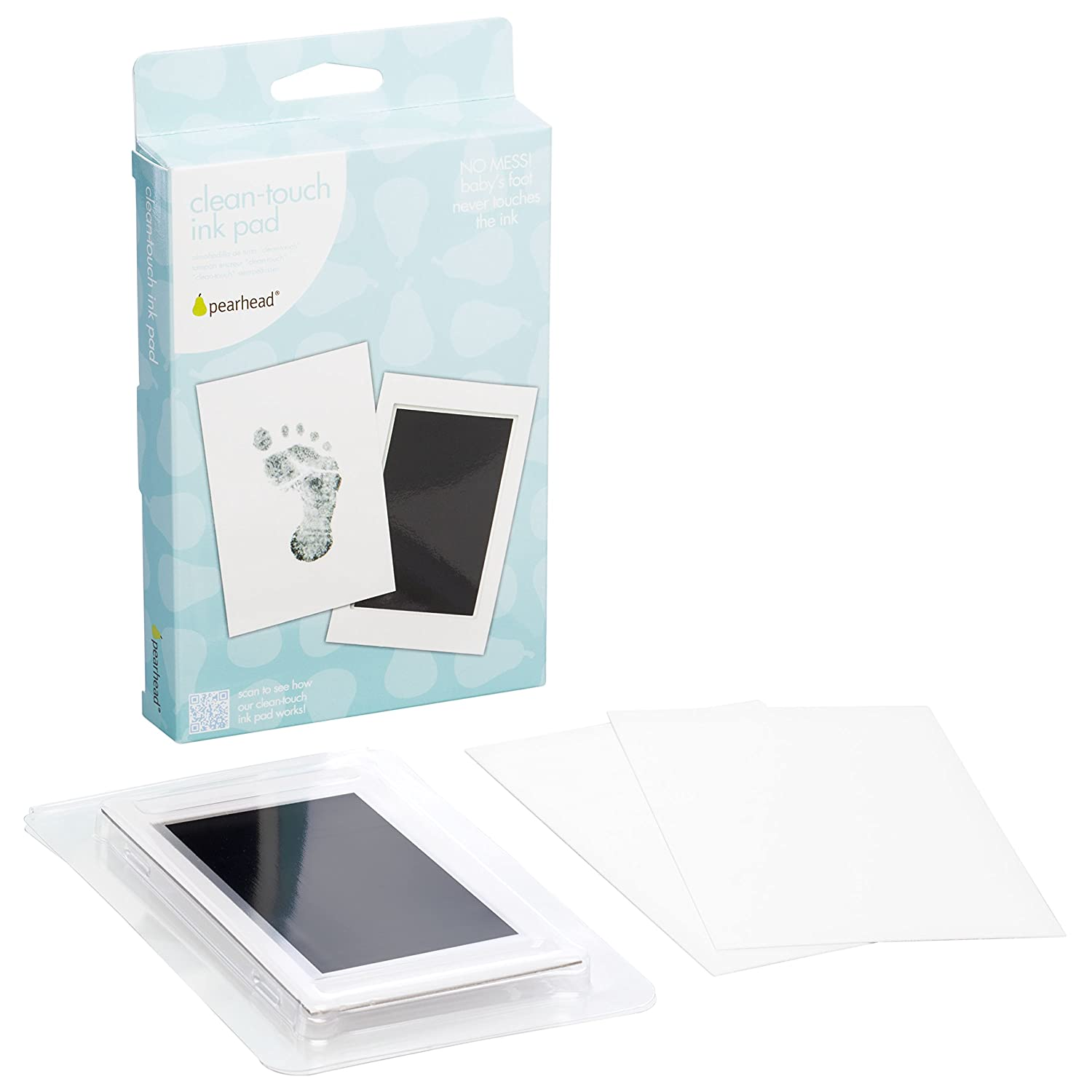 "Pearhead Newborn Baby Handprint or Footprint ""Clean-Touch"" Ink Pad, 2 Uses, Black 00007"