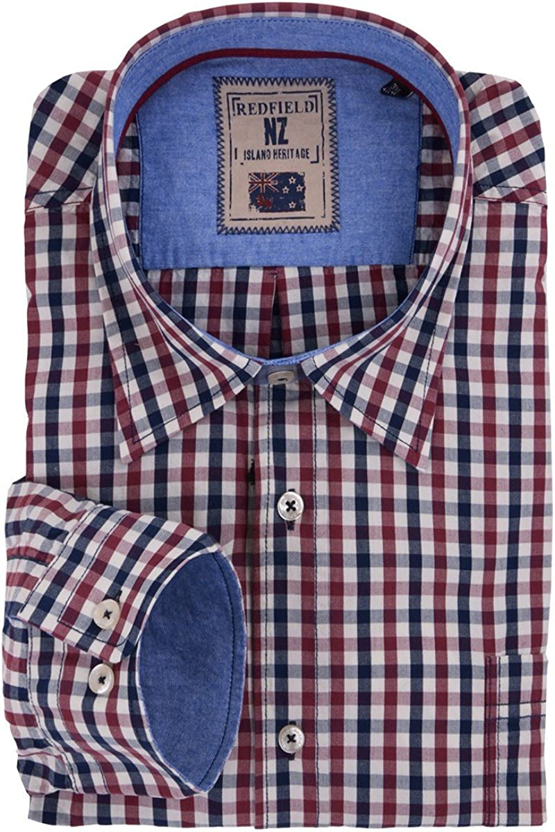 Redfield Camisa Manga Larga Rojo Oscuro-Azul Oscuro-Blanco Cuadros Oversize, 2xl-8xl:3XL: Amazon.es: Ropa y accesorios