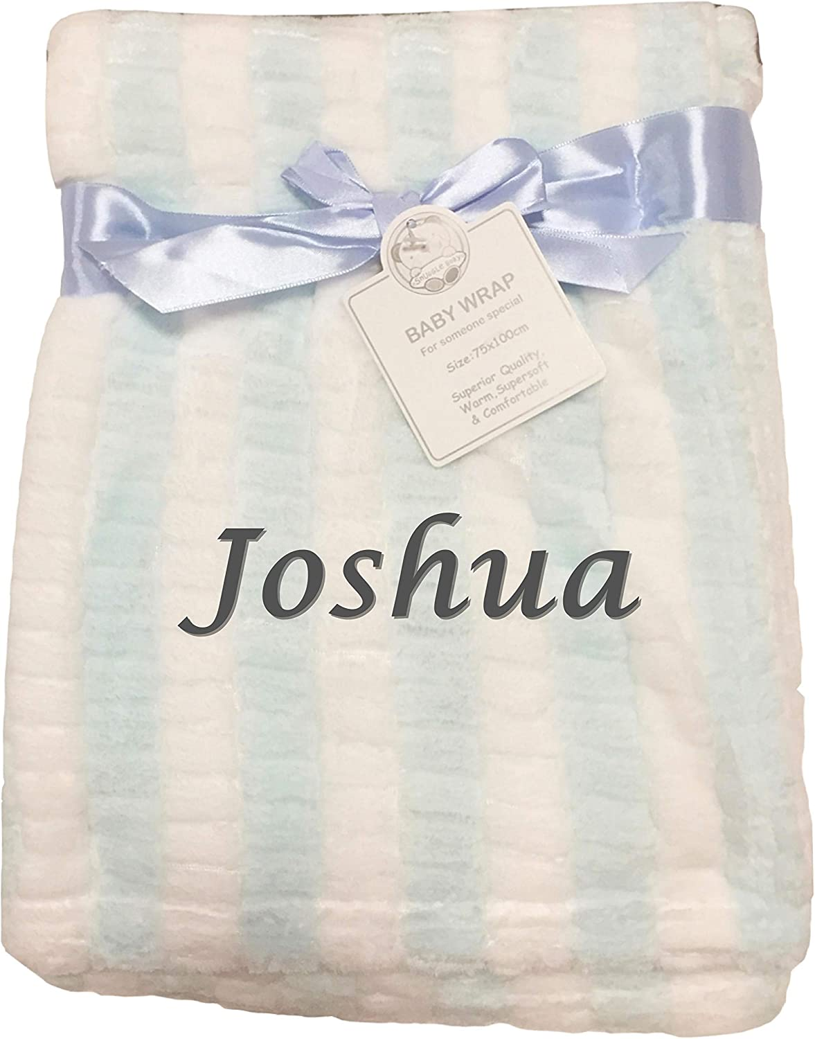 Baby Boy Girl Personalised Blanket Embroidered Name Pink Mint Mint and White Striped