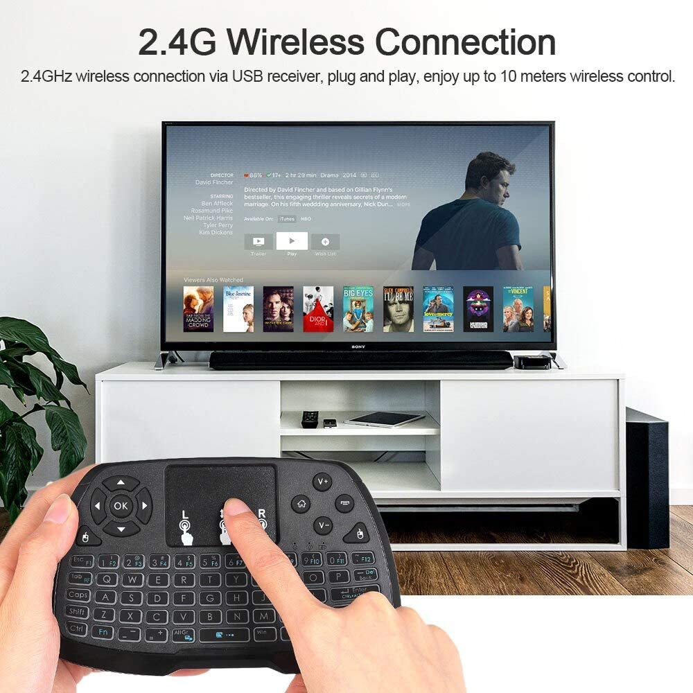 Calvas 2.4GHz Wireless Keyboard Touchpad Mouse Smart TV Handheld Remote Control for Android TV BOX Smart TV PC Notebook