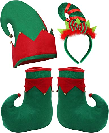 Cooraby Christmas Elf Costume Set Felt Elf Hat Elf Shoes Christmas Elf Headband Xmas Holiday Party Adult Elf Accessories