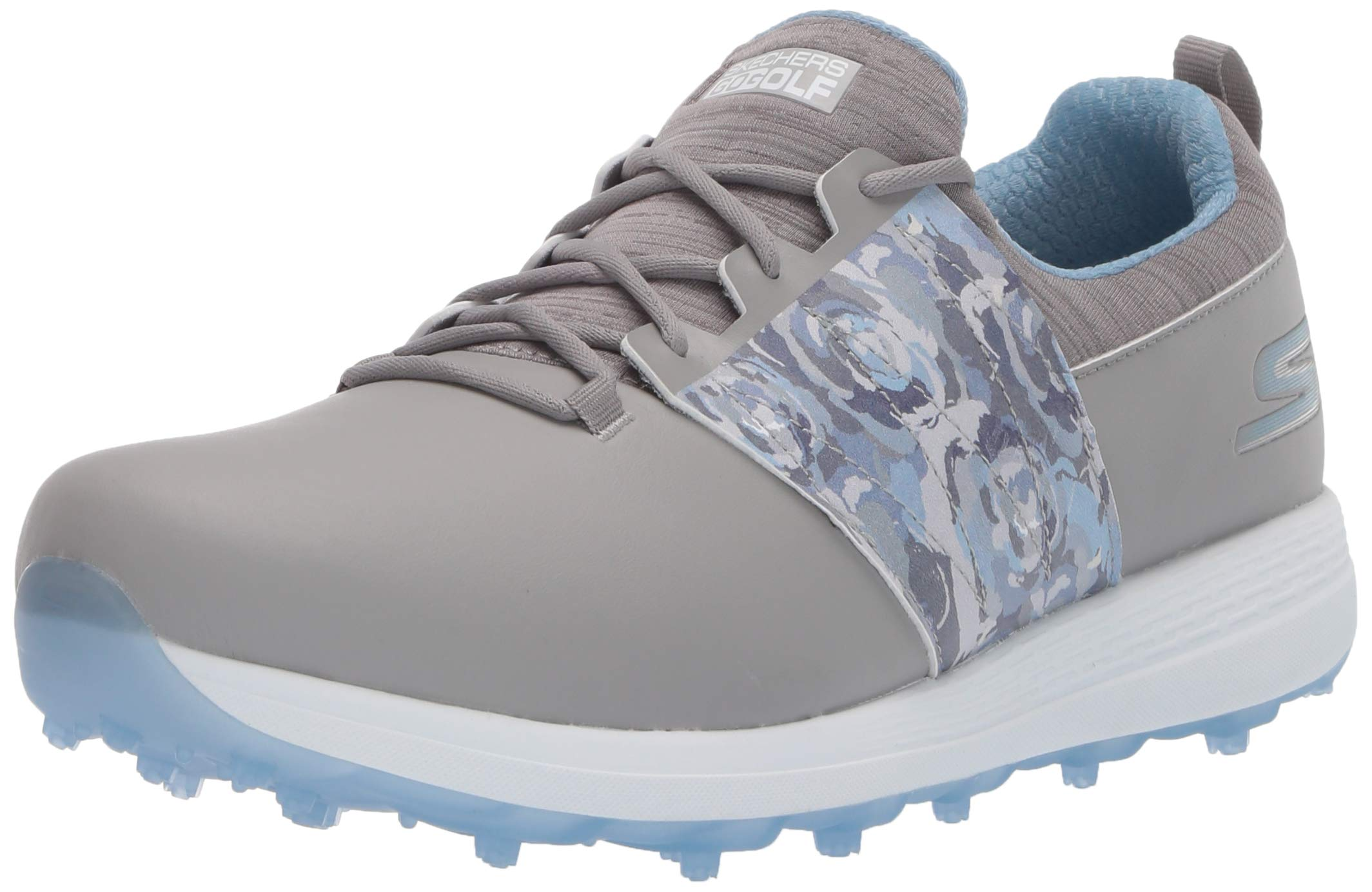 Skechers Women's Eagle Spikeless Golf Shoe, Gray/Blue Floral, 10 W US by Skechers