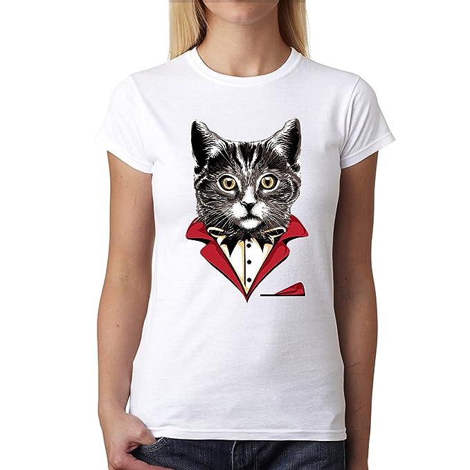 avocadoWEAR Gato Smoking Traje Corbata de Moño Mujer Camiseta Blanco 3XL: Amazon.es: Ropa y accesorios