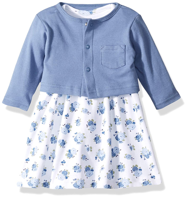 70f24cf6f8c Amazon.com  Luvable Friends Baby Girls  Dress and Cardigan Set  Clothing