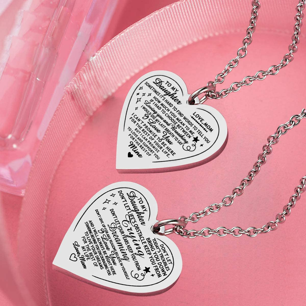 seensea Daughter Heart Pendant Necklace You Are Braver Than You Believe Engraved Motivational Message Stainless Steel Jewelry Gifts from Mom Dad