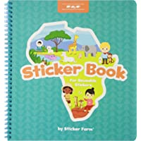 Sticker Farm Original Series Large (10 x 10.5 in) Sticker Book for Reusable Stickers to Benefit The African Wildlife Foundation - Special Edition Reusable Sticker Album with Built-in Sticker Pocket