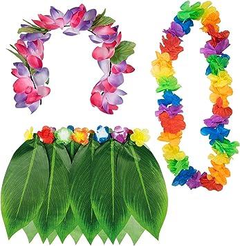 TRIXES Disfraz Hawaiano Colección de 3 piezas - Falda de hojas de ...