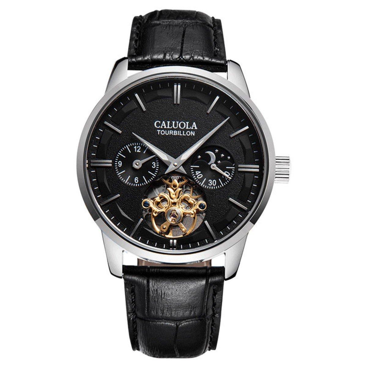 Caluola Reloj Analógico Automático para Hombre con Correa en Cuero 1136-blackPVD: Amazon.es: Relojes